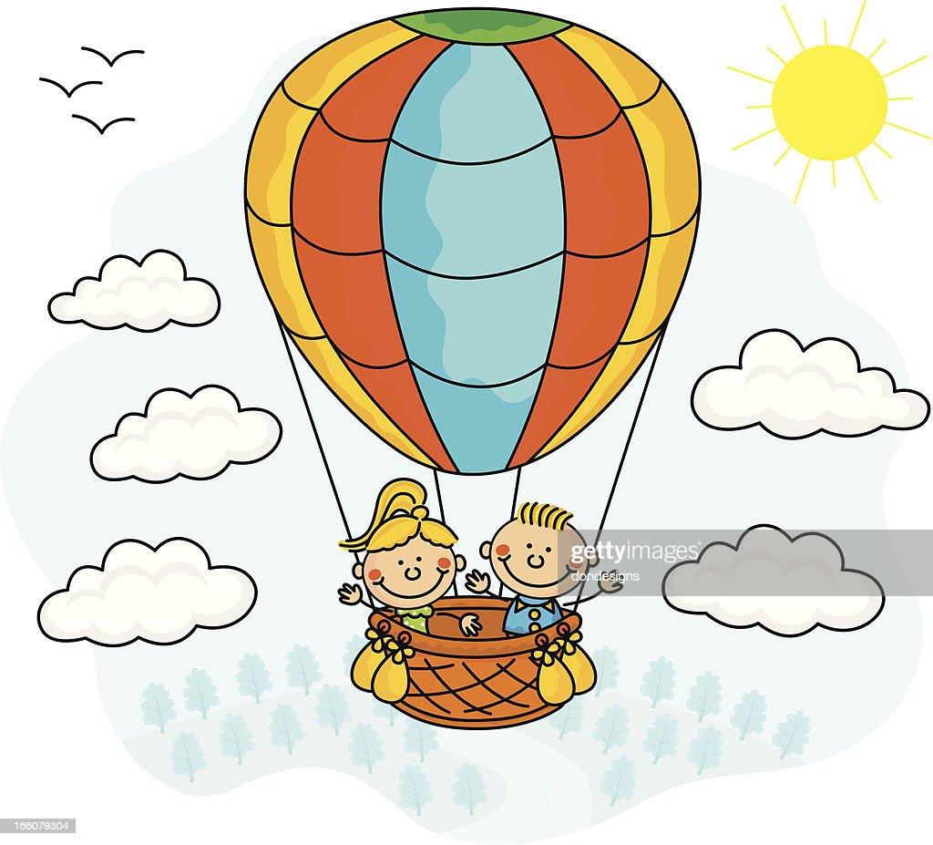 Hot Air Balloon Kids Vector Art | Getty Images
