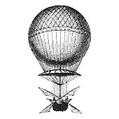 Ancient style engraving of a hot air balloon