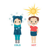 Kid in hot and cold weather. Cartoon style illustration isolated on white background.