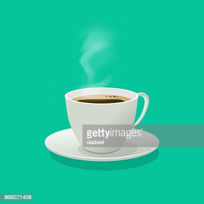 Hot coffee cup glass vector illustration with steam isolated : stock vector