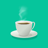 Hot coffee cup glass vector illustration with steam isolated on color background