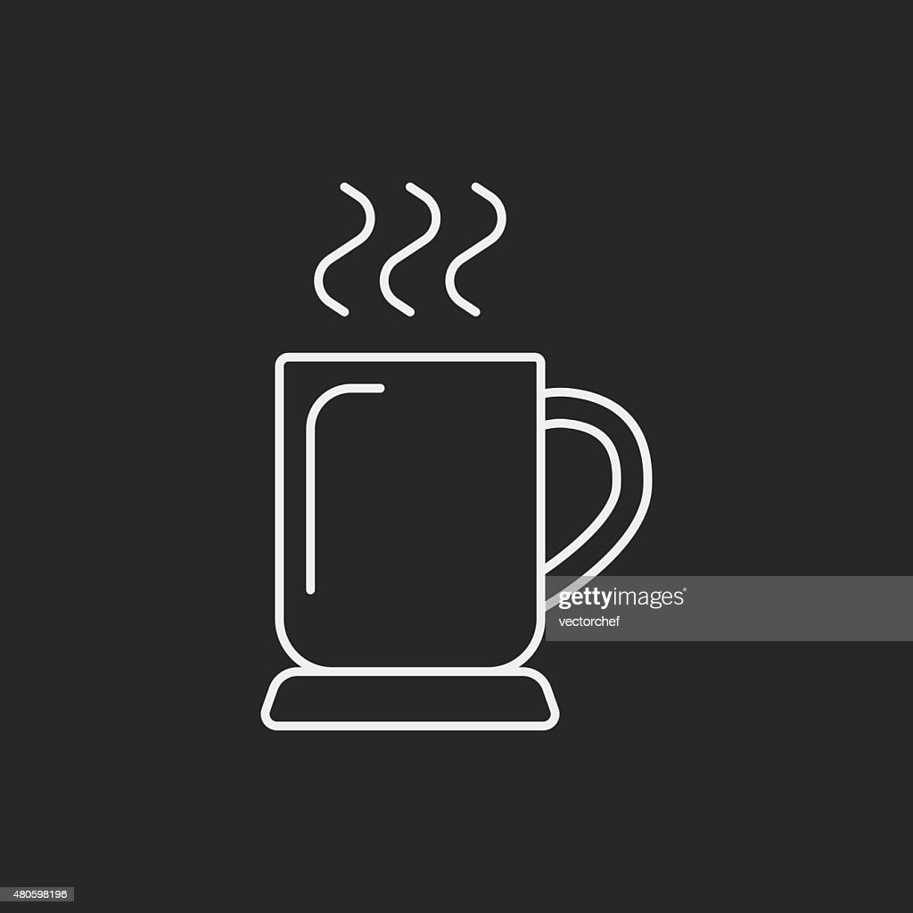 hot coffee line icon : Vector Art