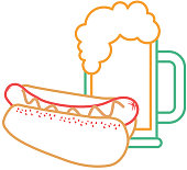 hot dog and beer food unhealthy vector illustration