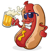 Hot Happy Dog Cartoon Character Wearing Sunglasses and Drinking a Mug of Beer With Sunglasses and Attitude