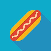 hot dog icon with long shadow. flat style vector illustration