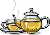 illustration of hot green tea in pot and cup
