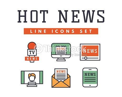Caliente Noticias Iconos Estilo Plano Coloridas Páginas Web Set ...