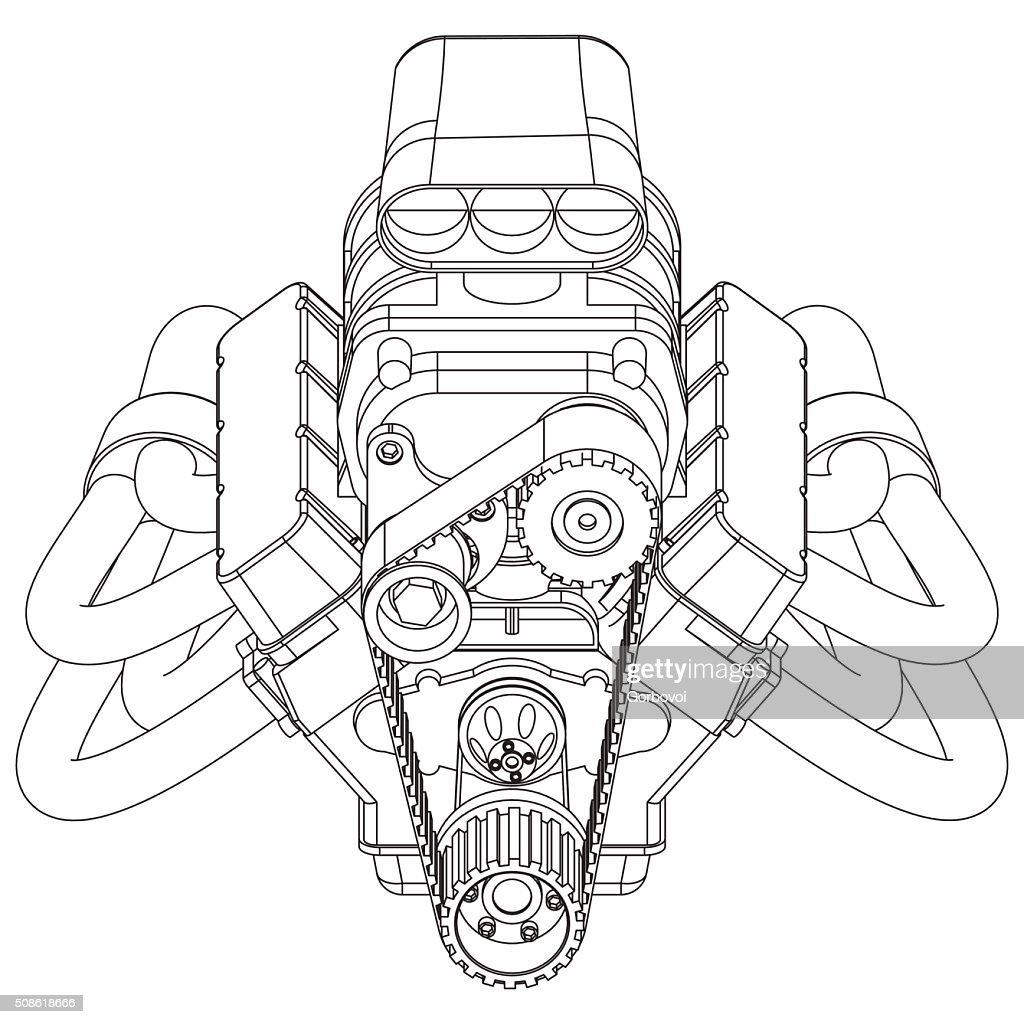 Hot Rod Engine : Vector Art