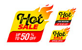 Hot Sale labels, stickers, special offer, big sale, vector illustration
