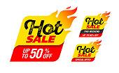 Hot Sale labels, stickers, special offer, big sale, vector illustration