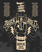 Hot summer festival. Human hand with rock and roll sign. Rock music festival. Design element for poster, flyer, emblem,  sign.  Vector illustration.
