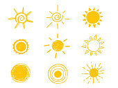 Hot sun icon. Yellow doodle illustration isolated on white background.