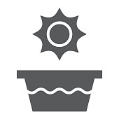 Hot water glyph icon, temperature and wash, basin sign, vector graphics, a solid pattern on a white background, eps 10.