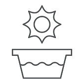 Hot water thin line icon, temperature and wash, basin sign, vector graphics, a linear pattern on a white background, eps 10.