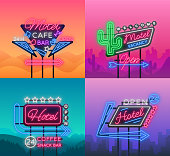 Hotel and Motel are collection of neon signs. Vector illustration. Collection of Retro signboards, billboard with an indication of hotel or motel, night neon advertisement of hotel, luminous banner.