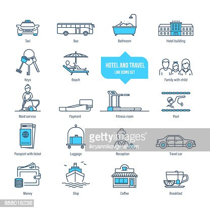 Hotel and travel thin line icons, pictogram, symbol set : Vector Art
