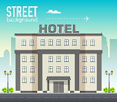 Hotel building in city space with road on flat style background concept. Vector illustration