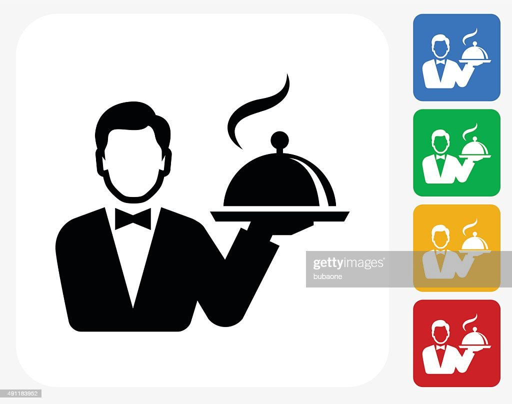 Hotel room service icon flat graphic design vector art for Chambre de service