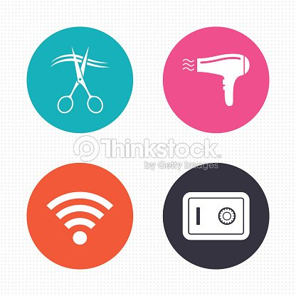 Hotel Services Icon Wifi Hairdryer And Safe Vector Art Thinkstock