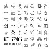 Hotel services vector icons set for your design