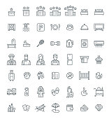 Hotel services vector outline icons set. Simple linear pictograms. Isolated on white. Thin line symbols for choosing of apartment. Different services for traveling singles and families with kids