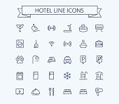 Hotel vector icons set. Thin line outline 24x24 Grid.Pixel Perfect. eps 10