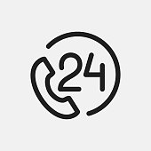 24 hour support icon illustration isolated vector sign symbol