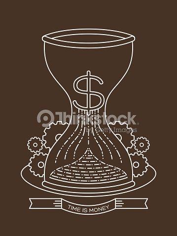 4ee9d94166e Ampulheta sandglass areia relógio com Tempo é Dinheiro conceito ilustração    Arte vetorial