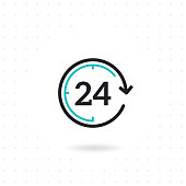 24 hours flat vector icon. Flat line design open 24 hours. Non stop working shop or service. Outline clock symbol. Twenty four hours icon. Colored flat line vector illustration
