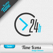 Time icon on the gray background. 24 hours symbol. Vector design elements.