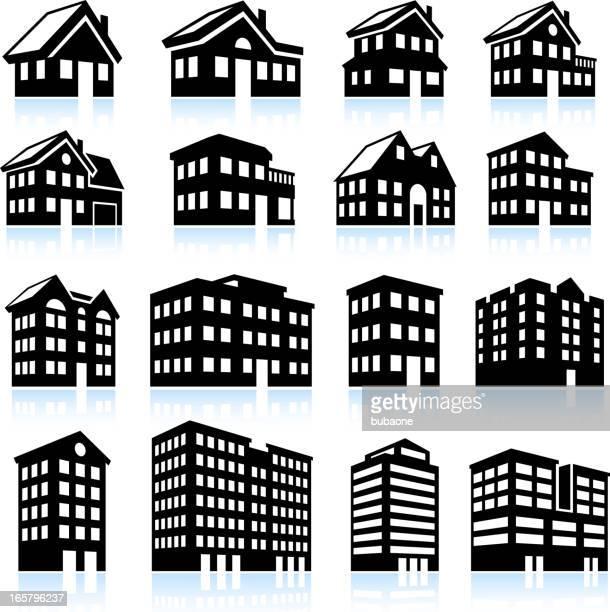 3 D casa y apartamento iconos en blanco y negro