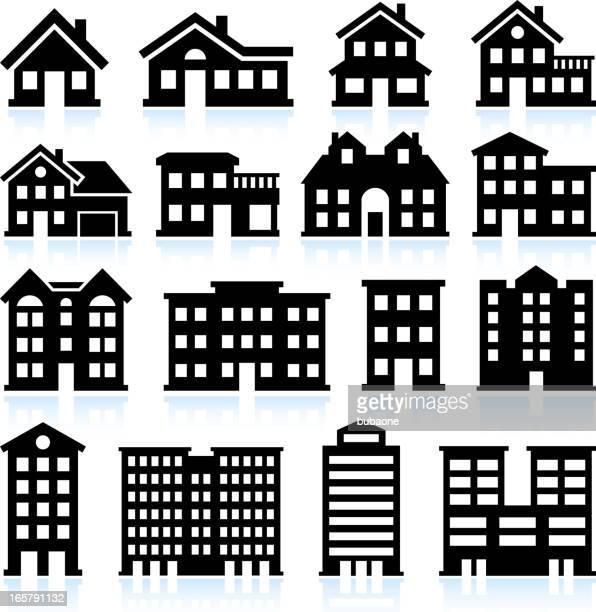 Iconos de casa y apartamento sobre fondo blanco