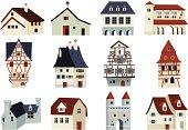 House and building icons related to landmarks, a country house,a tower and the architecture.