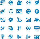 House and car air conditioning, heating and cooling vector icons. Cooling conditioner, thermometer and fan, temperature conditioning illustration