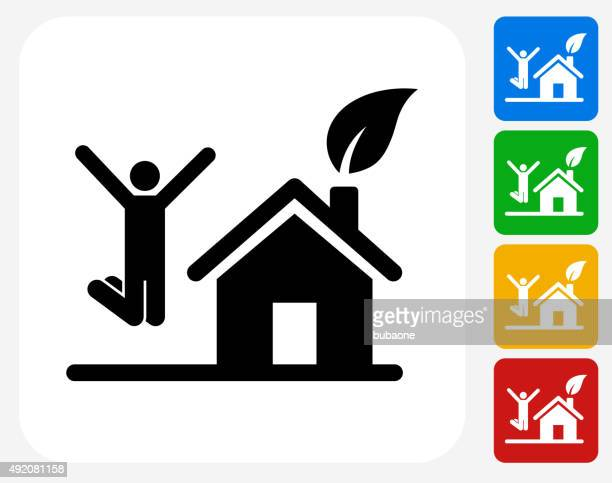 Maison et heureux homme sautant à la conception graphique icône