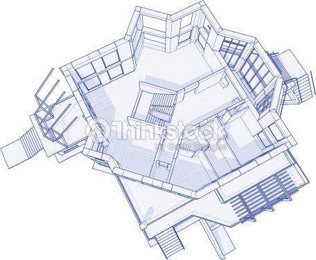 House blueprint 3d technical concept draw vector art thinkstock house blueprint 3d technical concept draw vector art malvernweather Choice Image