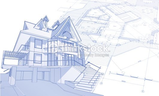 House blueprint 3d technical concept draw vector art thinkstock house blueprint 3d technical concept draw vector art malvernweather Gallery