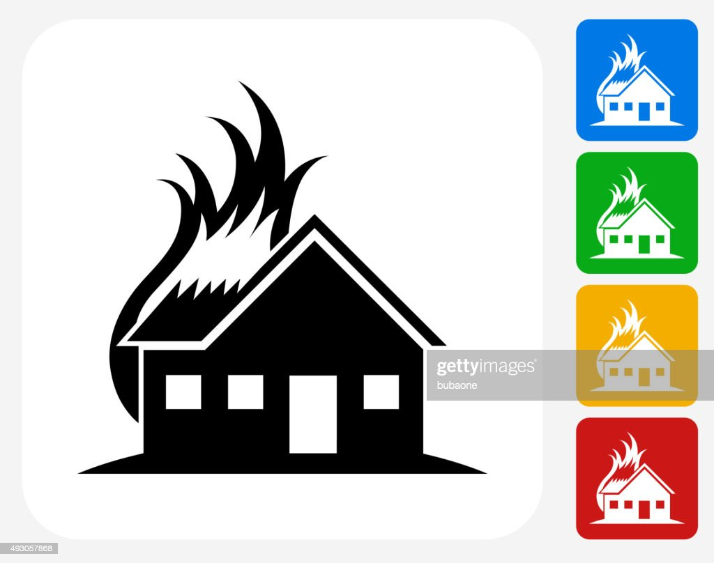 House fire icon flat graphic design vector art getty images for Graphic design house