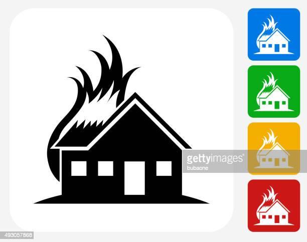 Icono casa diseño gráfico plana de incendios