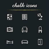 House furniture chalk icons set. Vector. Bookcase, dresser, desk lamp, wall picture, armchair, chair, bed, sofa and open door exit sign
