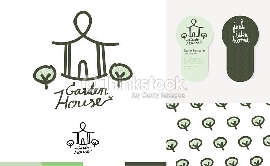 house garden logo with business card and pattern vector art