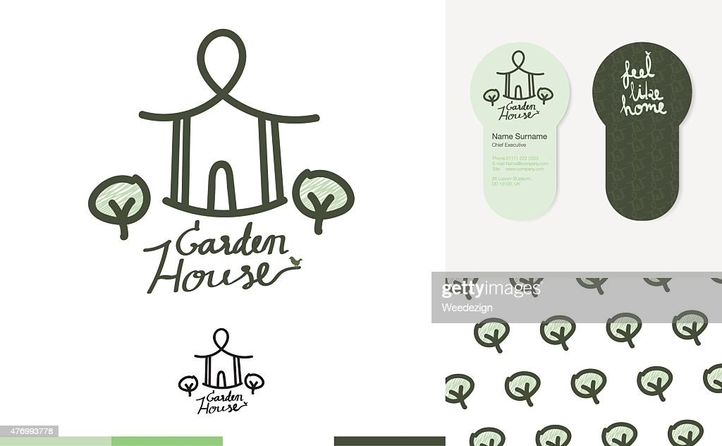 House Garden Logo With Business Card And Pattern : Vector Art