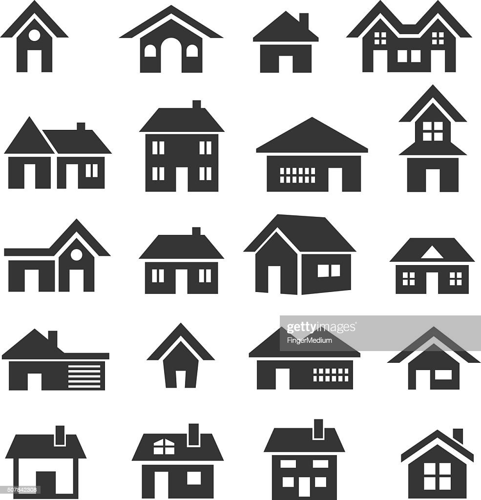 House Icon Set Vector Art | Getty Images