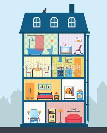 Maison de date d tail int rieur de la maison moderne for Living room y sus partes