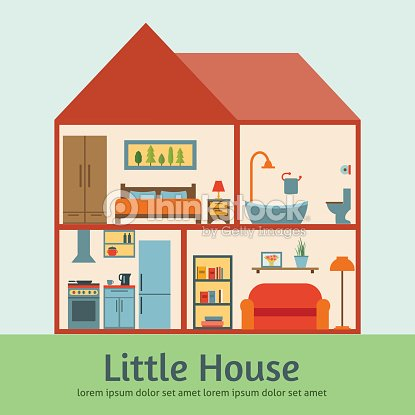 Maison dans une coupe plate illustration clipart vectoriel for Interior house design clipart