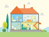 House in Cut View Basic Room of Home Basic Room of Home. Flat Design Style Vector illustration