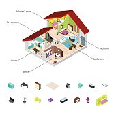 House in Cutaway and Element Set Isometric View Basic Room of Apartment, Section Building with Furniture. Vector illustration