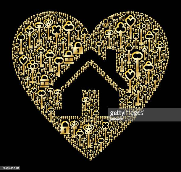 Huis in hart antieke gouden sleutels patroon vectorafbeelding