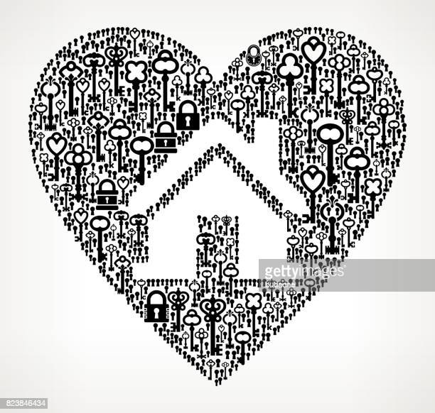 Huis in hart antieke Keys Black and White Pattern Vector