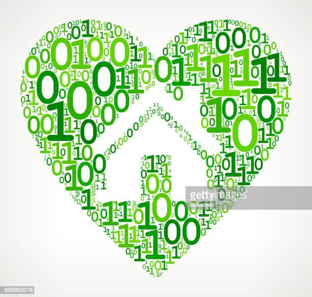 Huis in hart binaire Code nul een vectorillustratie